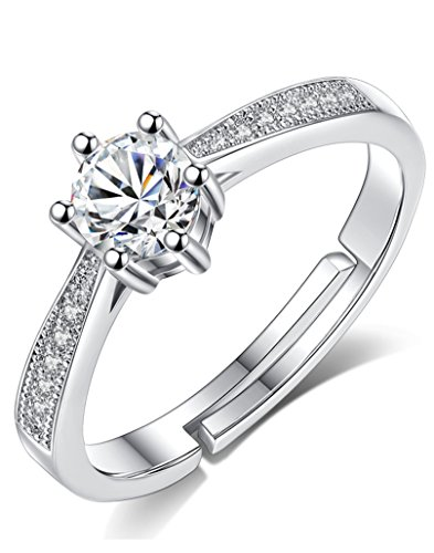 Karatcart Platinum Plated Elegant Austrian Crystal Adjustable Ring For Women