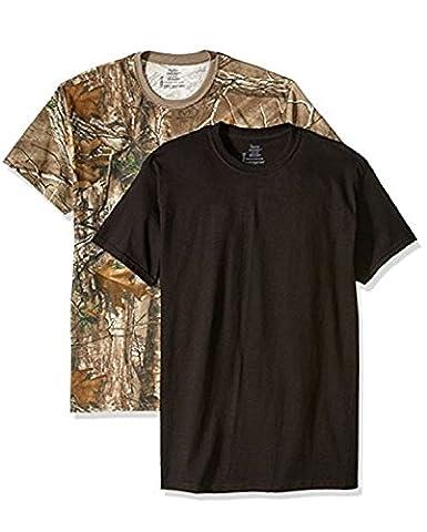 Hanes Men's 2 Pack Real Tree Comfortsoft Crew T-Shirt- L