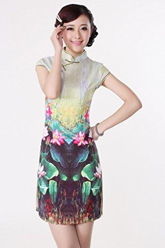 Smile YKK Femme Robe Cheongsam Qipao Rétro Soie Fleur Multicolore