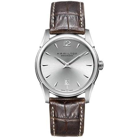 Hamilton Jazzmaster serie del hombre 40mm marrón correa de cuero caja de acero automático analógico reloj