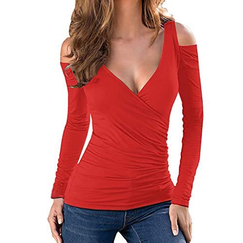 Luckycat Blusas de Malla Clubwear para Mujer Transparente Sexy Deep V Low  Cut Camisas de Manga af9bf5f8573