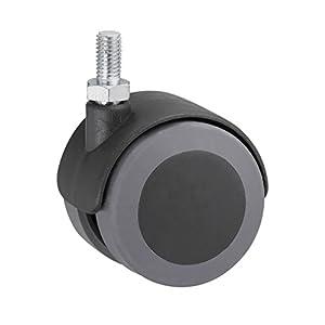 Metafranc Doppelrolle Ø 50 mm - mit Schraube - TPR-Rad - Weiche Lauffläche - Gleitlager - 50 kg Tragkraft / Transportrolle / Möbelrolle / Containerrolle / Parkettrolle / 800330