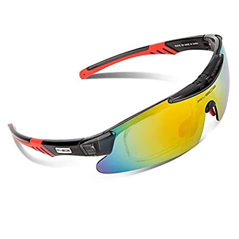 RIVBOS RB0839 Anti-UV Polarisiert Sportsonnenbrille für Fahren, Fahrrad Golf Angeln Baseball Wandern, 5 Wechselbare Linsen PC Schwarz&Rot