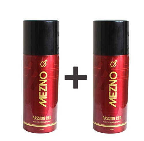 Mezno Passion Red Sizzling And Long Lasting Fragrance Deodorant Body Spray For Men - 24 Hrs Fresh Power Deo - 150ml (Buy 1 Get 1 Free )