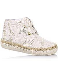 FALCOTTO - Sandalia de cordones beige de cuero con insertos de encaje, ideal para los primeros pasos y para el gateo, Niña, Niñas