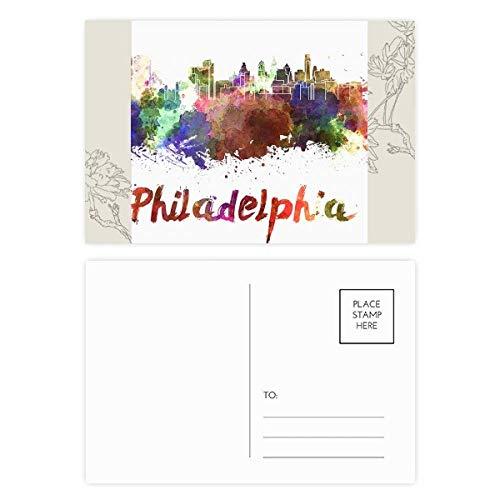 DIYthinker Philadelphie Ville Aquarelle Carte postale de fleur Set 20pcs côté de la carte postale Merci 5,7 pouces x 3,8 pouces Multicolor 5.7 pouces x 3.8 pouces Multicolore