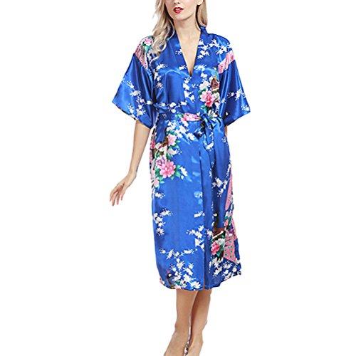Zhhlaixing Womens Sexy Robe Lingerie nightwear Night gown Nightie Silk Bathrobe wp200 Royal Blue
