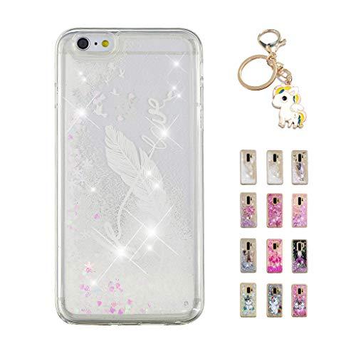 7273cbd8d74 Kawaii-Shop Funda iPhone 6S 6 Brillo líquido, Cute Frase Blanca con Tinta y  Pluma TPU Silicone Case Transparente Glitter Resistente Cover +Llavero  Unicornio