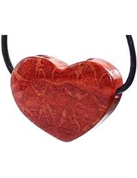 """budawi® - Anhänger """"Herz"""" gebohrt aus Schaumkoralle ca. 33 x 25 mm, rote Koralle"""