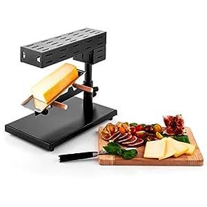 oneConcept Appenzell - Appareil à raclette dans le style traditionnel suisse (métal robuste, support à fromage flexible, 600W)