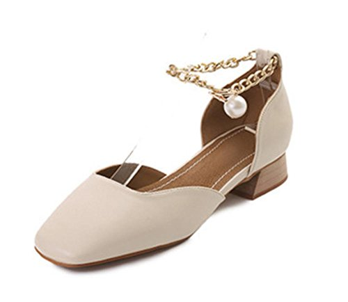 Sandálias De Verão Sapatos De Saltos Baixos De Cabeça Quadrada Áspera Chinelos Femininos Pérola Metros Branco