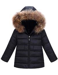 JiaMeng Abrigo Grueso Acolchado Invierno cálido Chaqueta Ropa con Capucha para Niño Niña Unisex Ligero Compresible Calentito