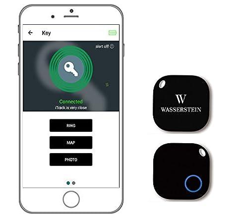 Détecteur de clé Bluetooth, Tracker GPS pour Smartphone, Alarme Smart Anti-Perte, Caméra télécommandée pour appareils iOS et Android - Wasserstein (1 Pack, Noir)