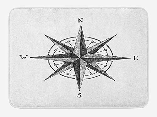 Compass Bath Mat, Seamanship Hand Drawn Windrose with Complete Directions North South West, Plush Bathroom Decor Mat with Non Slip Backing, 23.6 W X 15.7 W Inches, Charcoal Grey White