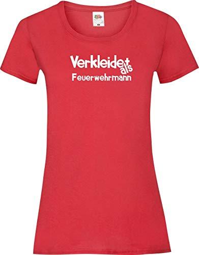 Womens Feuerwehrmann Rot Kostüm - Lady-Shirt Verkleidet als Feuerwehrmann Karneval Fasching Kostüm Verkleidung, rot, XL