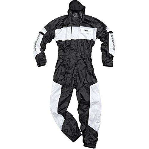 FLM Regenkombi Motorrad schwarz-weiß für Damen & Herren M