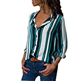 MRULIC Damen Shirt Tie-Bow Neck Striped Langarm Spleiß Bluse Gestreift Damen Tragen(V8-Grün,EU-50/CN-5XL)