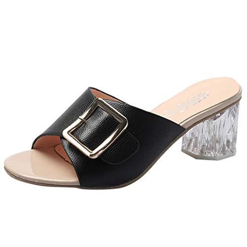 Siswong donna tacco alto sandali col tacco donna scarpe con i tacchi alti donne con tacco tacchi alti moda ciabatte da donna in cristallo di pesce spesso con fibbia(nera,36)