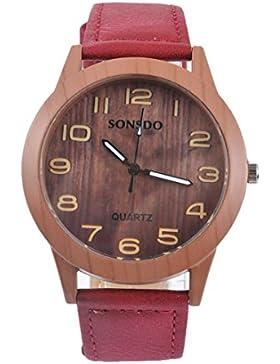 Souarts Damen Retro Holz Streifen Uhr Armbanduhr Quartz Analog mit Batterie Rot