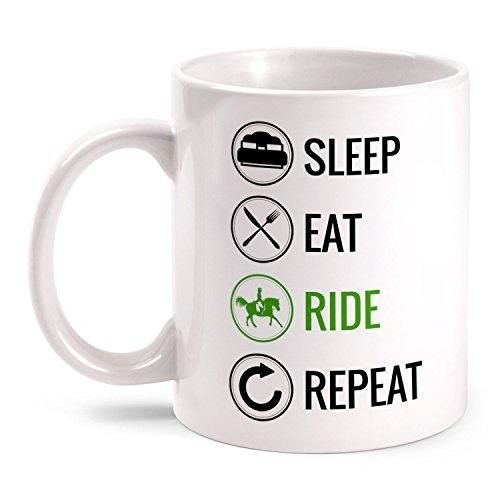 Fashionalarm Tasse Sleep Eat Ride Repeat - Reiten beidseitig bedruckt mit lustigem Motiv | Geschenk Idee Reiter Reitsport Pferdeliebhaber Pferde, Farbe:weiß -