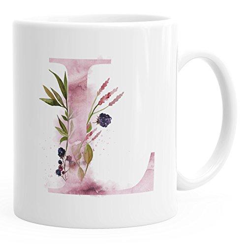 sse L Tasse mit Buchstabe Alphabet Monogramm Watercolor gezeichnet Kaffeetasse weiß unisize ()