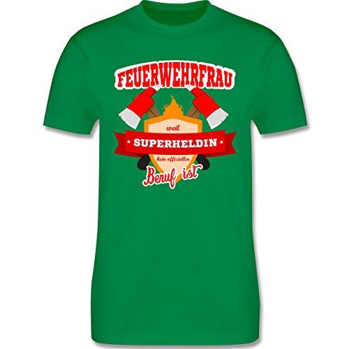 Feuerwehr - Feuerwehrfrau - weil Superheldin kein offizieller Beruf ist - Herren Premium T-Shirt Grün
