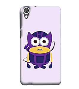 For HTC Desire 825 Blue yellow cartoon, purple background, big eye cartoon Designer Printed High Quality Smooth Matte Protective Mobile Case Back Pouch Cover by Paresha