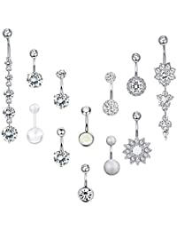 SMCTCRED Belly Bars,11PCS 316L Surgical Steel CZ Belly Bars with Dangle Cubic Zirconia Curved Body Piercing Jewelry Barbells for Women Girls