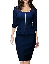 Miusol® Damen Karree-Ausschnitt 3/4 Arm Reissverschluss vorne Schößchen Cocktailkleid Business Kleid, Blau Gr.36-38