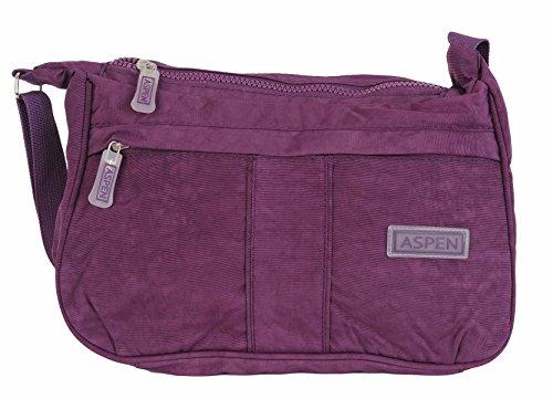 Aspen, Borsa a Tracolla Da Donna Misura Media Medium Con Cerniera Vari Colori Disponibili CN9879 Viola