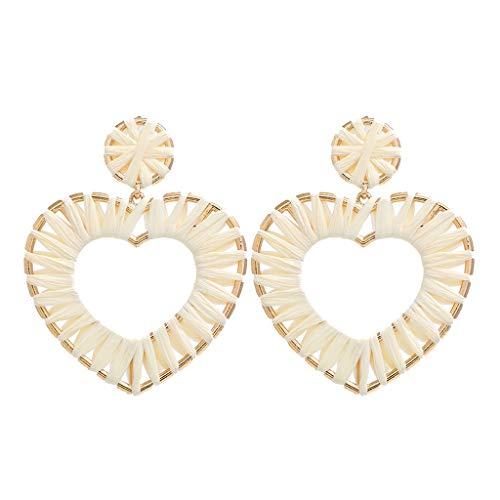 YULAND Ohrringe Damen, Frauen Schmuck Ohrhänger - Böhmisches Rattan Handgemachte Bast Geometrische Liebe Ohrringe Damen Schmuck (Black-gold-ring Blue Diamond)