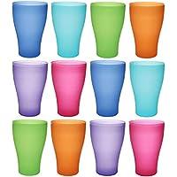 idea-station NEO taza de plástico 450 ml 12 piezas, reutilizable, colorido con tapa o transparente sin tapa, también se puede utilizar como vasos de agua, vasos de cóctel, vasos de fiesta, vasos de plástico son irrompibles, Farbe:12 St. / bunt / o. Deckel