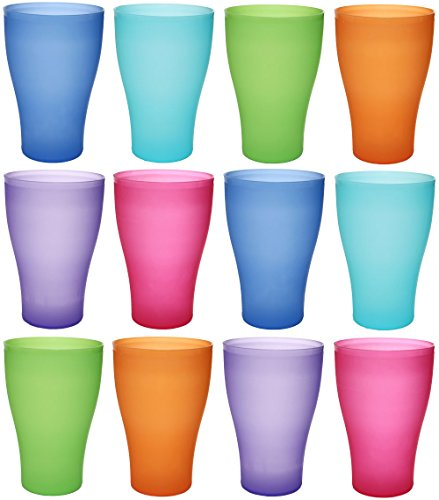 idea-station NEO Kunststoff-Becher mehrweg 450 ml 12 Stück, farbig bunt mit Deckel oder transparent ohne Deckel, stapelbar auch als Wasser-Gläser, Cocktail-Gläser einsetzbar, Party-Becher, Plastik-Becher sind bruchsicher, unzerbrechlich, Farbe:12 St. / bunt / o. Deckel (Kunststoff-einweg-bier-gläser)