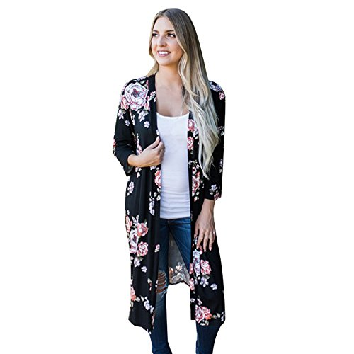 YWLINK Damen BöHmische Strickjacke Langer Kimono Oversized Drucken Schalbluse(XXXL,Schwarz)