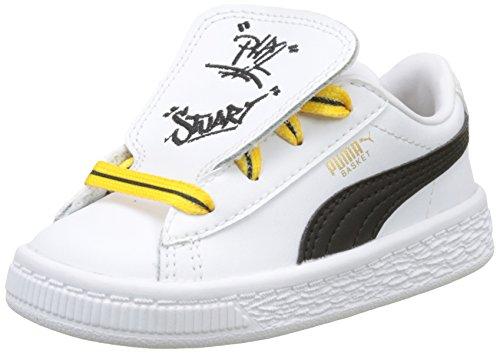 Puma Unisex-Kinder Minions X Basket Tongue Sneaker, Weiß White Black Yellow, 26 EU (Puma Kleinkind-mädchen-schuhe Weiß)