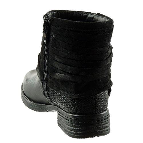 Angkorly - Scarpe Da Donna Stivaletti - Biker - Stivali Da Equitazione - Kavalier - Classic - Multi-bridle Loop - Tacco A Spillo Intrecciato 3 Cm Nero
