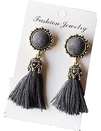 Mimushop Stylish & Deginer Flower Long Tassel Drop Earrings