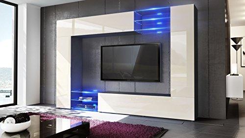 Wohnwand Creme Hochglanz Inkl. LED Beleuchtung   2