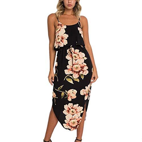 Ajpguot Damen Elegant Trägerkleid Blumenmuster Strandkleid Ärmellos Maxikleid Partykleider Schulterfrei Lang Sommerkleid mit Schlitz