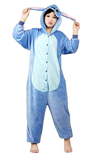 Stitch Kostüm Für Erwachsene - Tonwhar Unisex Kigurumi Schlafanzug, Schlafanzug, Kostüm, Cosplay, Homewear Gr. Small, Blau, Stitch