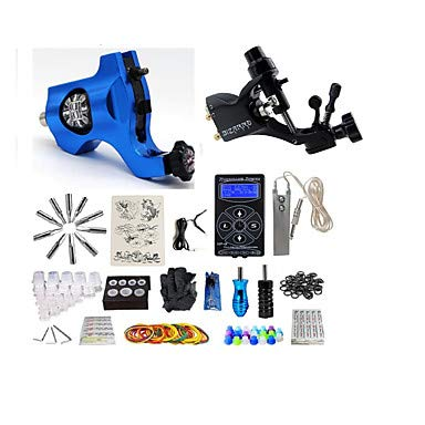 Basekey Tätowiermaschine Professionelles Tattoo Kit - 2 Pcs Tattoo-Maschinen LCD-Stromversorgung Aufbewahrungshülle Inklusive 2 X Drehtattoomaschine Für Umrißlinien Und Schattierung