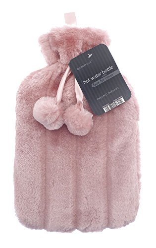 Hot Water Bottles with Luxury Faux Fur & Pom Poms by Country Club 2 Litre (Pink)