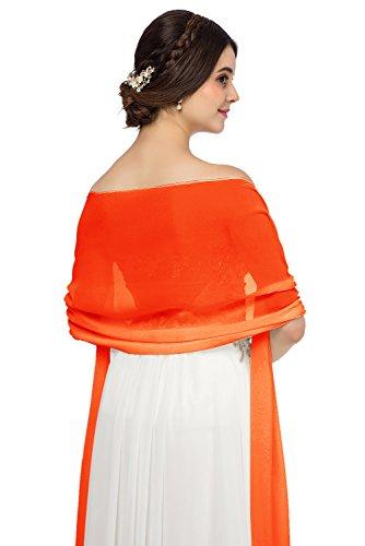 JAEDEN Chiffon Stola Schal für Brautkleider Abendkleider Alltagskleidung in verschiedenen Farben 45cmx220cm Orange