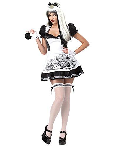 KULTFAKTOR GmbH Dark Alice Halloween Damenkostüm Märchen Weiss-schwarz -
