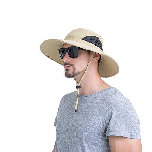 JNINTH Hut Herren Sommer Outdoor, Sonnenhut Männer UV Schutz, Fischerhut Unisex Faltbar Atmungsaktiv, Wanderhut Erwachsene Größe 60 Khaki (Mann Hut)