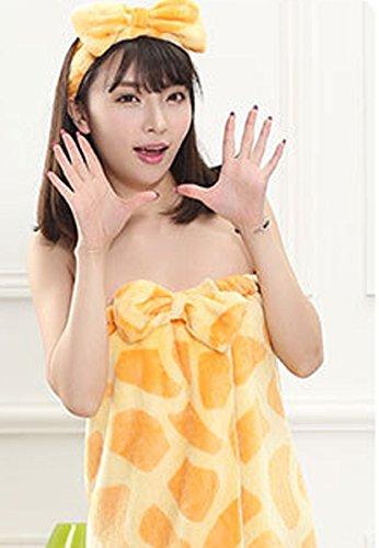 Femmes Spa Wrap bretelles Cover Up Serviette de Bain Tube robe peignoir avec une bande de cheveux bowknot Jaune
