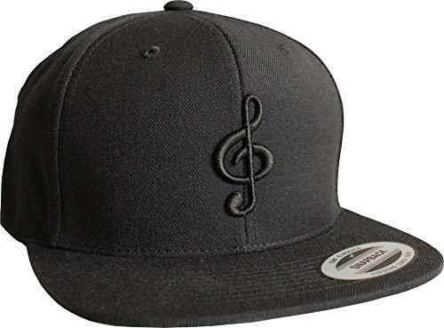 Cap: Notenschlüssel - Flexfit Snapback - Basecap - Urban Streetwear - Männer Mann Frau-en - Baseball-cap - Hip-Hop Rap - Mütze - Kappe - Musik Music - Partner-Cap - DJ - Hipster (One Size)