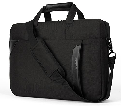 Laptop Tasche, DTBG 15,6 Zoll Nylon Schultertasche Messenger Bag Portable Handtasche Geschäftstermin Aktentasche Laptoptasche für 15-15,6 Zoll Tablet / Ultra-book / Macbook / Chromebook (Schwarz) (Leder Personalisierte Laptop)