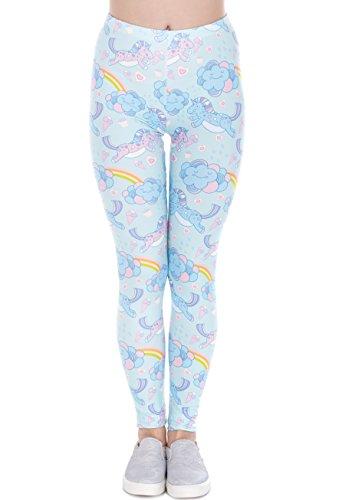 Frauen Leggins Hell-Blau Türkis Bedruckte Leggings Hose Frühling Sommer Kleidung Regenbogen Einhorn L29