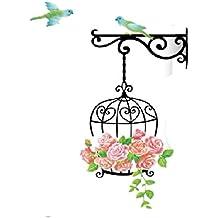 Adhesivo de pared extraíble con diseño de jaula para pájaros (55x 85cm) - Póster de decoración para el hogar